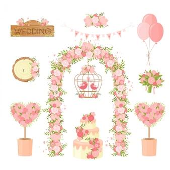웨딩 파티 꽃 장식 항목. 무리 꽃, 휴일 꽃다발, 아치, 케이크, 비둘기 인사말 카드, 포스터 디자인 요소. 식 장식 세트, 결혼, 약혼 축하 항목 모음.