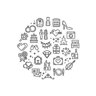 Wedding party fun outline vector icons