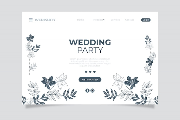 Wedding party landing page with hand drawn floral elements