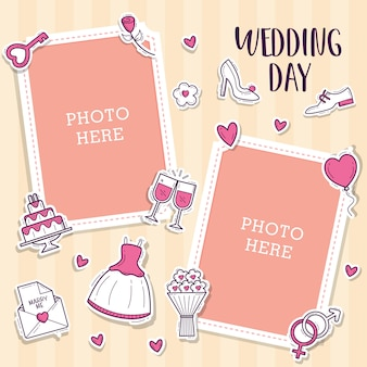 Wedding photo frames with cute object wedding sticker