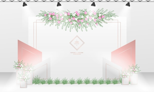 Wedding photocall background design with white and rose gold color theme.
