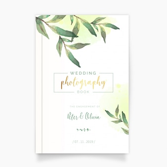 Wedding photography book with watercolor leaves