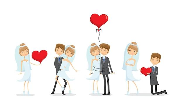 Свадебные фотографии влюбленных жениха и невесты в стиле каракули