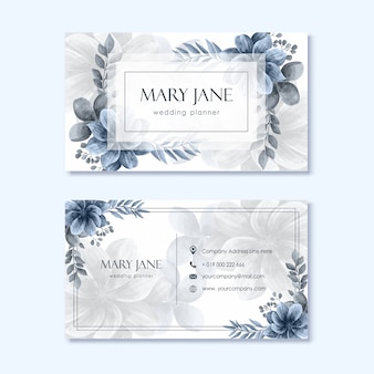 Wedding planner business card template with flower decoration