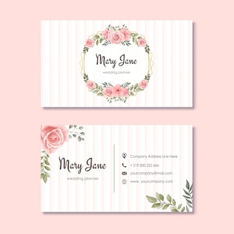 Wedding planner business card with watercolor flowers floral