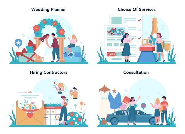 Набор концепции свадебный планировщик. планирование профессионального организатора