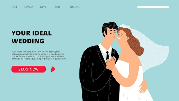 Wedding planner landing page. just married characters banner. organization of celebrations and holidays web template