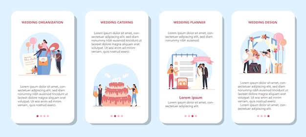 Wedding planner mobile application banner set