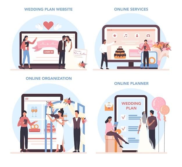 ウェディングプランナーのオンラインサービスまたはプラットフォームセット。