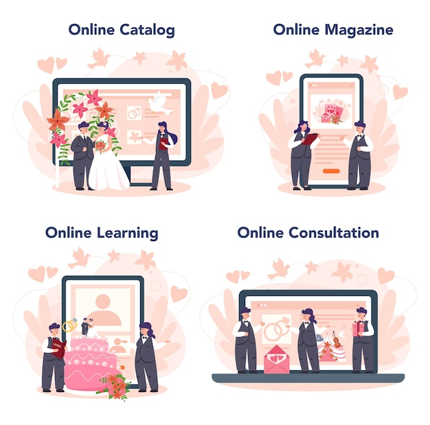 Wedding planner online service or platform set. professional organizer planning wedding event. online catalog, magazine, learning, consultation.