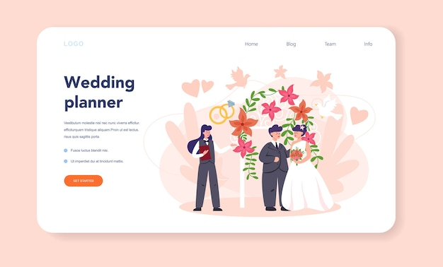 Wedding planner web banner or landing page.