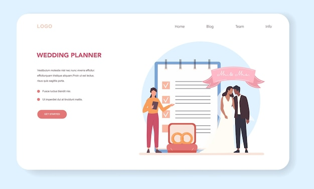 Планировщик свадеб веб-баннер или целевая страница
