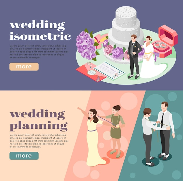 Wedding planning isometric web banners illustrated measuring bride and groom figures  envelopes with invitations rings and tiered cake
