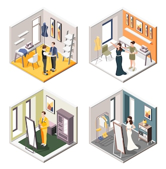 Wedding planning set of isometric interiors of tailor shop with future newlyweds trying on wedding costumes and dresses