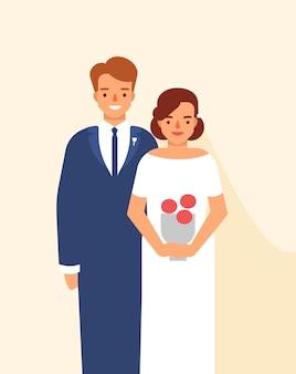 Свадебный портрет милой счастливой пары молодых улыбающихся жениха и невесты, одетых в элегантную одежду