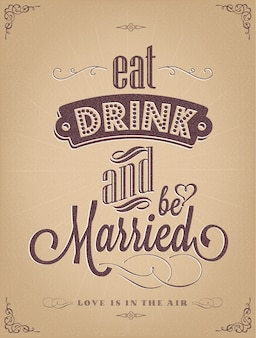 Wedding poster design Free Vector
