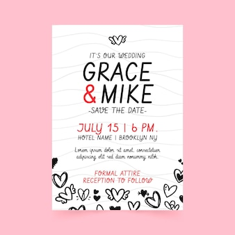 Wedding poster template with doodled hearts