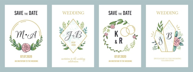 Свадебные плакаты. роскошный шаблон пригласительного билета с цветочными вензелями и элементами минималистского дизайна. векторная иллюстрация современные пастельные баннеры приглашает на праздник