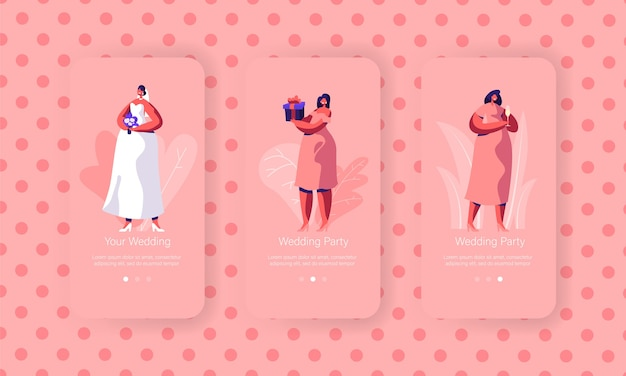 結婚式の準備モバイルアプリページオンボード画面セット。花束の美しい花嫁は白いドレスを着ます。ウェブサイトのピンクの服のコンセプトの花嫁介添人。フラット漫画ベクトルイラスト