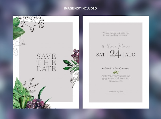 Wedding purple flowers save the date card