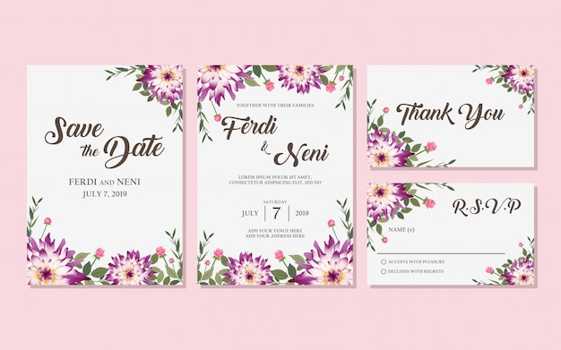 Wedding purple invitation card
