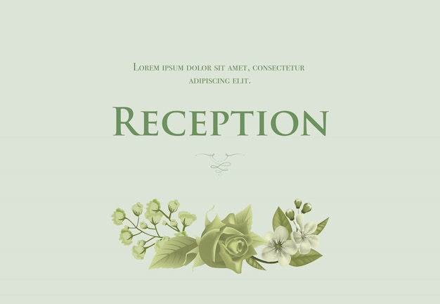 Wedding reception card template with blossom, rose and lily of valley