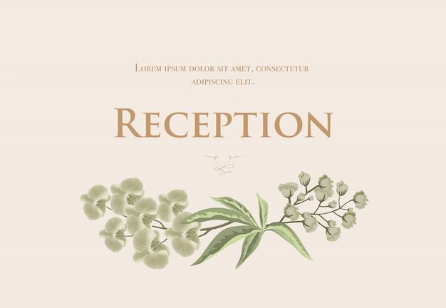 Wedding reception card template with iris and lily of valley on beige background.