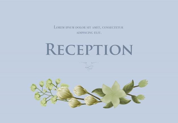 Snowdrops와 파란색 배경에 릴리 웨딩 리셉션 카드 템플릿.