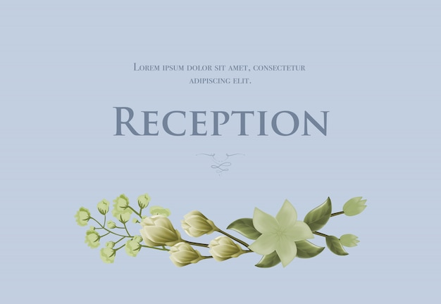 Wedding reception card template with snowdrops and lily on blue background.