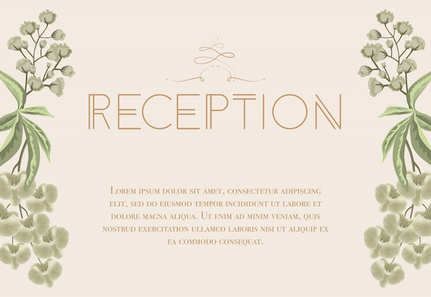 Wedding reception card with iris and lily of valley.