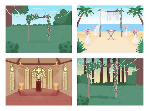 Набор плоских цветных иллюстраций свадебного приема