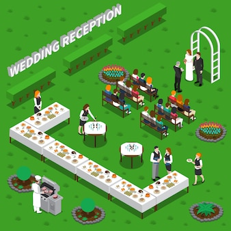 Wedding reception isometric illustration