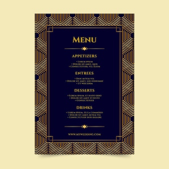 Wedding restaurant menu template