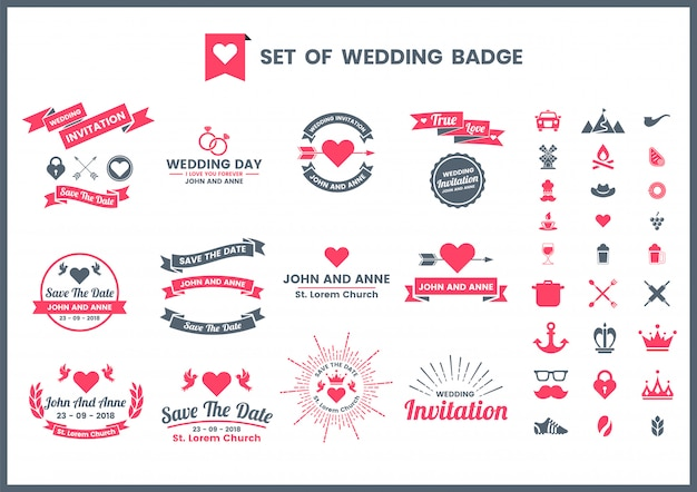Wedding retro romantic badge, icons and elements set for san valentine