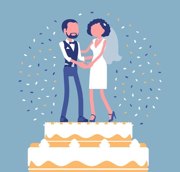 Свадебный насыщенный торт со льдом с женихом и невестой на вершине