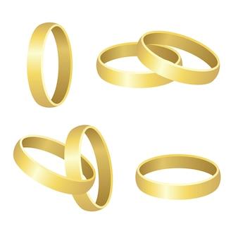 白で隔離される結婚指輪の図