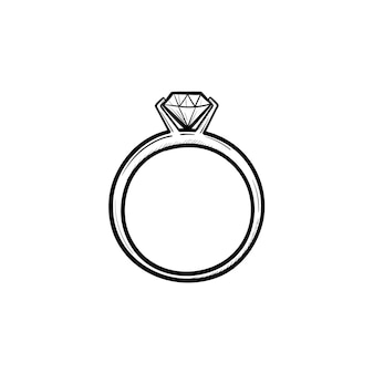 Wedding ring with diamond hand drawn outline doodle icon. luxury, jewellery, engagement, wedding, gift concept. vector sketch illustration for print, web, mobile and infographics on white background.