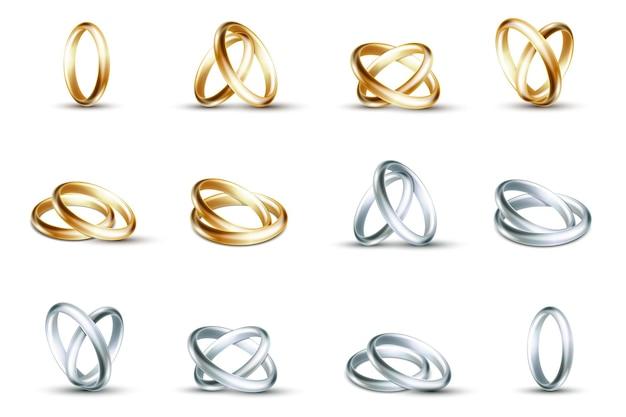 結婚指輪。白い背景の図に分離された金と銀の結婚指輪