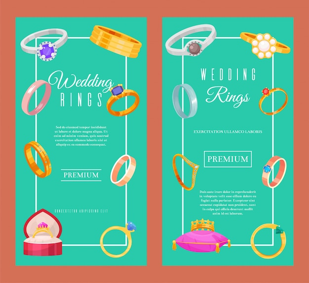 Wedding rings gold and silver metal banner. jewelry diamond ceremony gemstone present. Premium Vector
