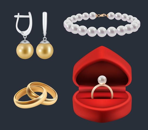 Обручальные кольца. золотые атрибуты в оформлении красных пачек глянцевых украшений реалистичный набор. ювелирные изделия иллюстрации и блеск, дорогая роскошь