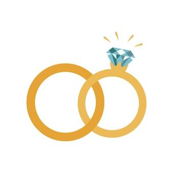 Обручальные кольца значок. плоский дизайн. векторные иллюстрации, изолированные на белом фоне.