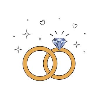 Wedding rings icon. flat design. vector illustration isolated on white background.