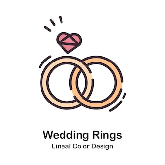 Wedding rings lineal color illustration