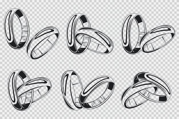透明な背景の結婚指輪