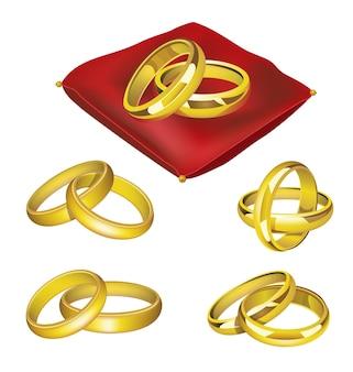 Обручальные кольца - реалистичный современный векторный набор золотых предметов на красной подушке в разных положениях. белый фон. используйте эти качественные элементы клип-арта для своего дизайна. желаю долгого счастливого брака. Premium векторы