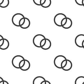 Wedding rings, vector seamless pattern, editable can be used for web page backgrounds, pattern fills