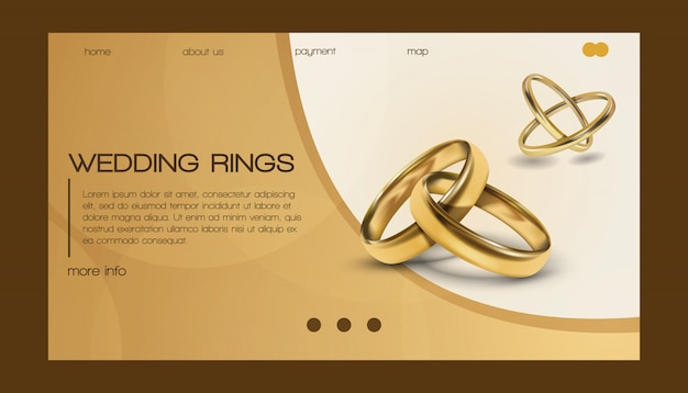 Wedding rings  wed shop business landing page of engagement symbol gold jewellery for proposal marriage sign web-page illustration