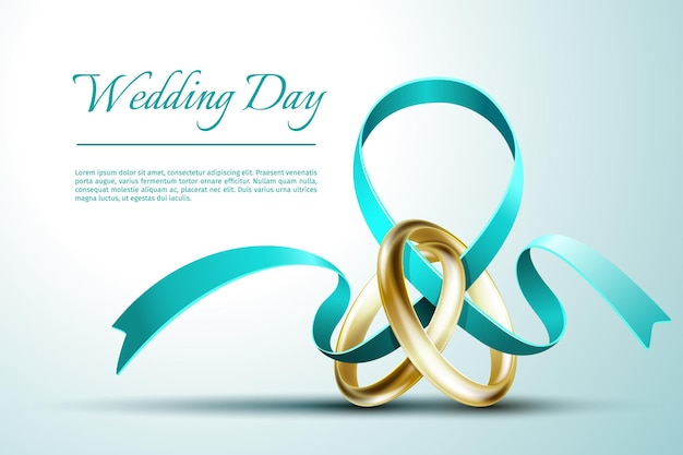 Wedding rings with ribbon invitation card template. invitation card for wedding