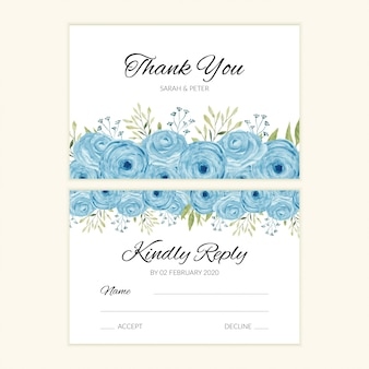 Wedding rsvp card template with blue watercolor rose decoration