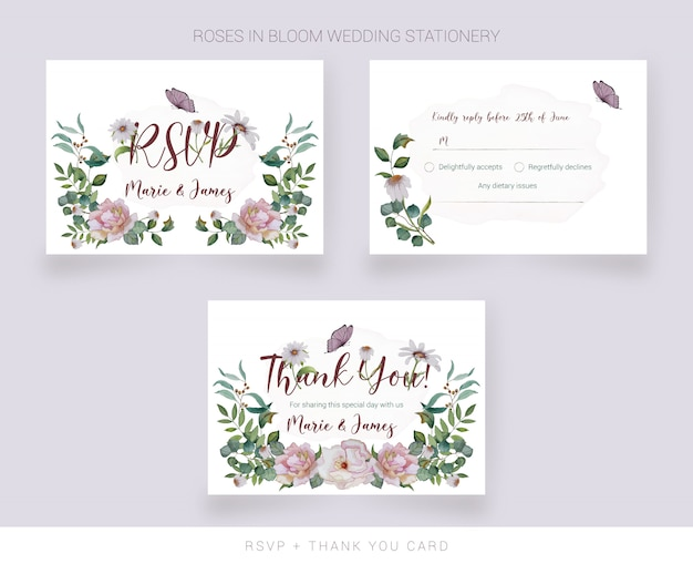 Wedding rsvp card and thank you card  with watercolor painted flowers